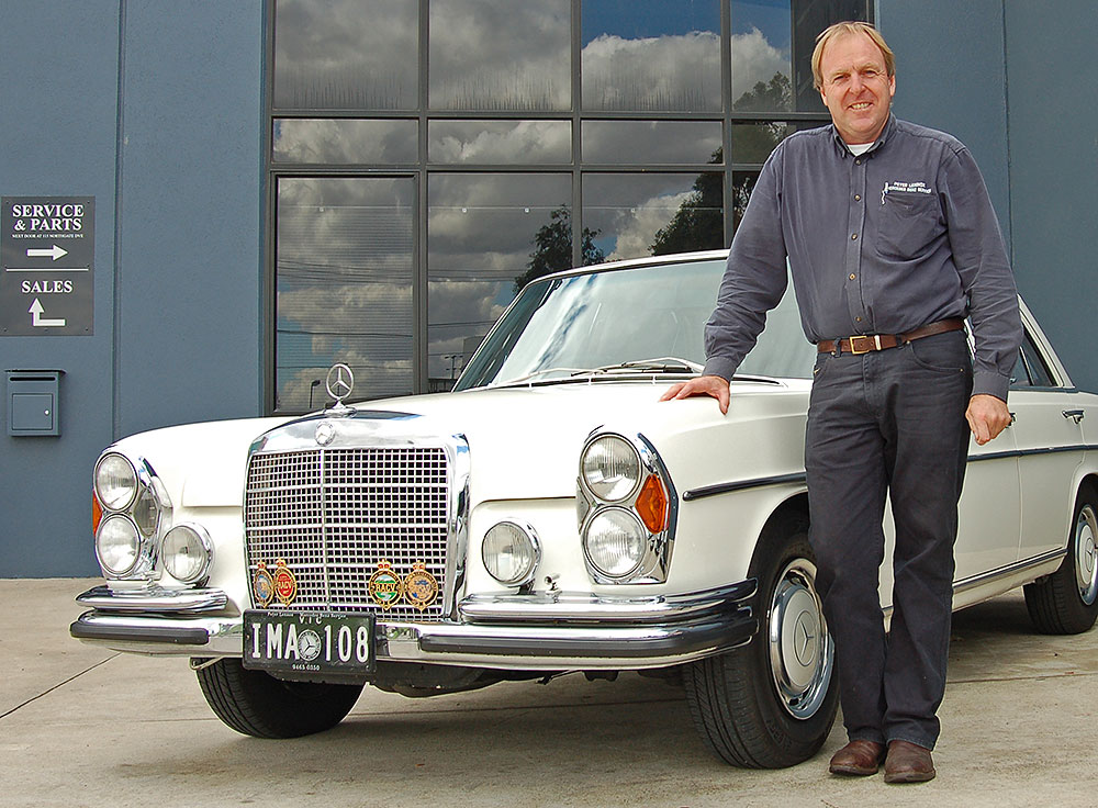 Peter Lennox with one of his classic Mercedes-Benzes